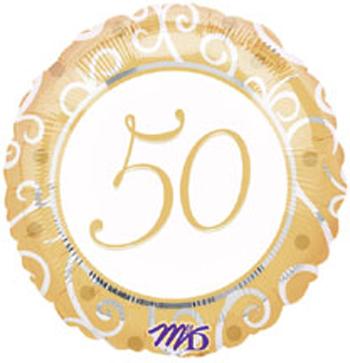 50 50th Anniversary Mylar Balloon Gold