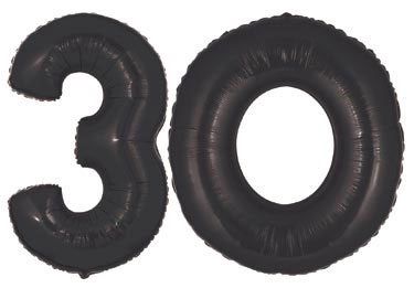 30th Birthday Balloons, Set of one black 3 and one black 0