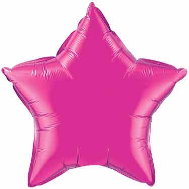 "Hot Pink Star Mylar Balloon, 20"" Diameter, Hot Pink Q99337"