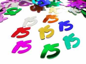 multi colored number 15 confetti number 15 confetti
