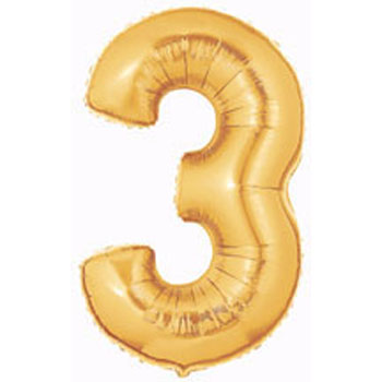 Gold Number 3 Balloon Large Gold Number 3 Balloons 40