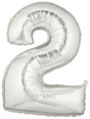 Silver Number 2 Mylar Balloon