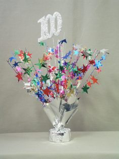 100th birthday centerpieces set of 6 for 100th birthday decoration ideas