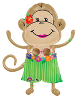 Luau Girl Monkey Balloon, Luau Theme Monkey Balloon