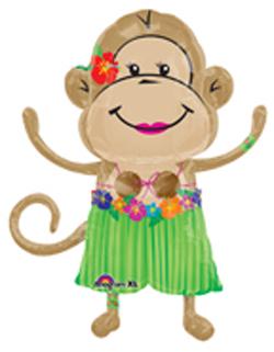 Luau Girl Monkey Balloon, Luau Theme Monkey Balloon