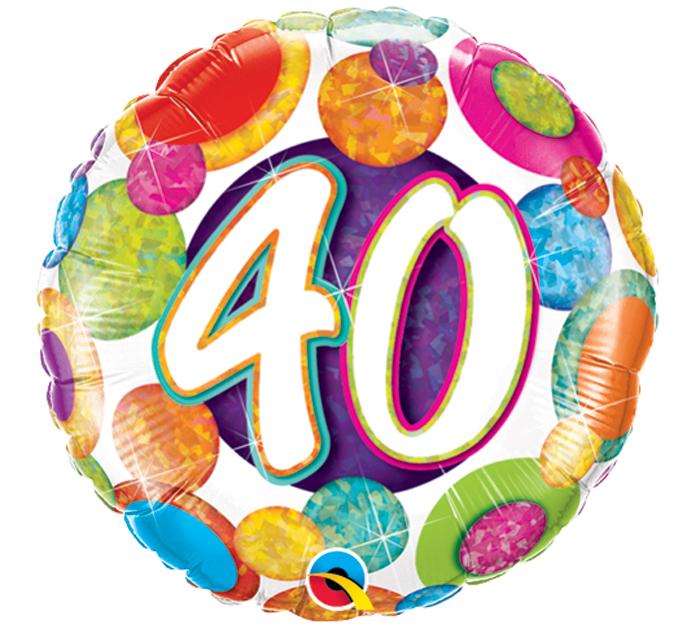 Big Dots 40th Birthday Mylar Balloon, Bright Holographic Balloon