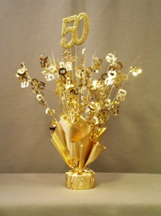 Gold 50th Anniversary Table Centerpieces Set Of 6