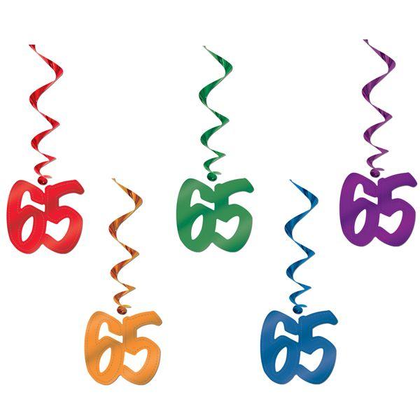 Number 65 whirls metallic danglers 65th birthday decoration for 65th birthday party decoration ideas