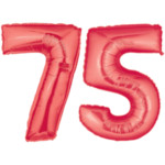 Red number 75 balloons, Large 75th Birthday Balloons