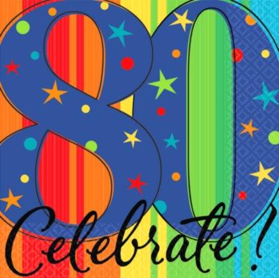 Celebrate 80 Napkins, 80th Birthday Party Napkins