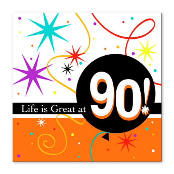 90th Birthday Party Napkins Bright Bold Design Number 90