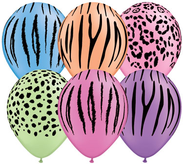 Jungle Print Balloons, Biodegradable Bright Neon Colors