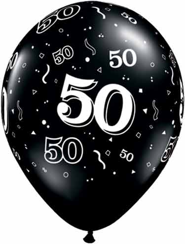 Black 50th Birthday Balloon, Giant Number 5 Balloon and Number 0