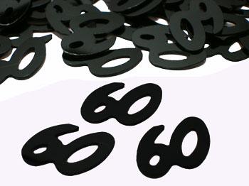 Black Number 60 Confetti Black 60th Birthday Confetti