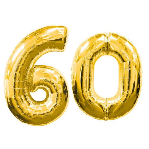 Large Gold Number 60 Balloon, Elegant Gold 60th Birthday ...