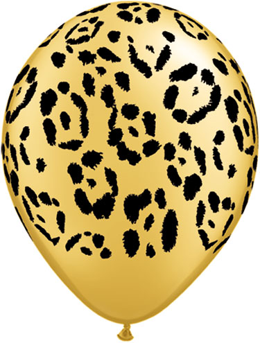 Leopard Print Balloons, Gold with Black Leopard Spots