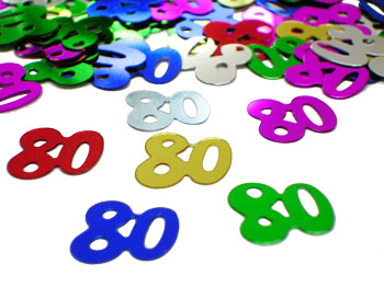 Number 80 Confetti, 80th Birthday Confetti in Bright Colors