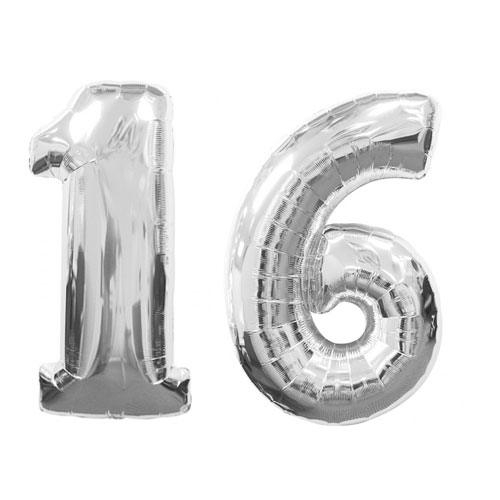 16 Number Balloons Silver