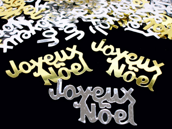 Joyeux Noel Confetti, Merry Christmas in French, Silver and Gold ...