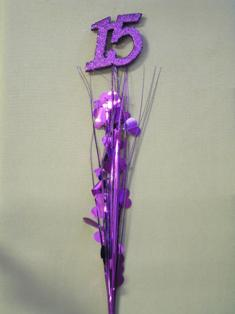 Purple Number 15 Centerpiece