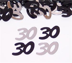 Number 30 Confetti, Black and Silver