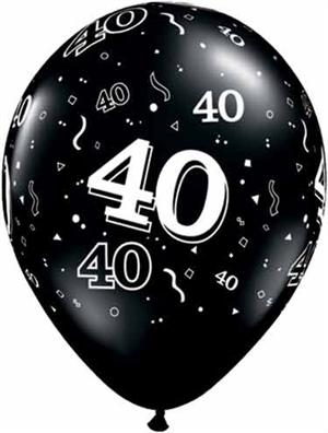 "Black 40th Birthday Balloons, 11"" Biodegradeable"