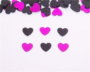 Black and Fuchsia Heart Confetti