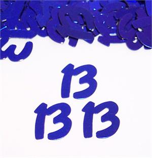 Number 13 Confetti Blue