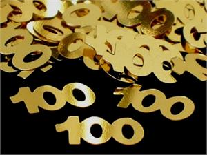 Gold Number 100 Confetti