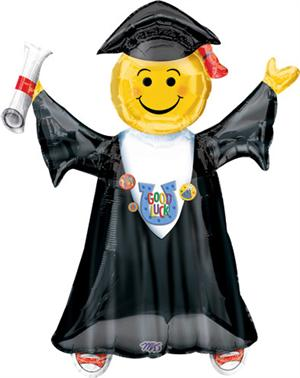 Large Smiley Face Jumping Graduate Balloon