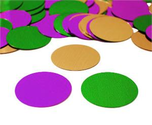 Purple Green and Gold Round Confetti Metallic