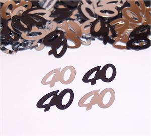 40 Birthday Black and Silver Confetti
