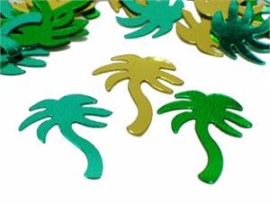 Shiny Metallic Palm Tree Confetti Gold, Green, Teal