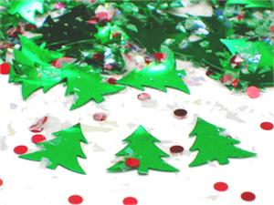 Xmas Confetti-Metallic Christmas Tree Confetti with red berries