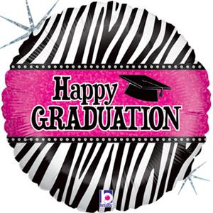 "Hot Pink and Black Graduation Balloon 18"" Each balloon has Happy Graduation on a Prismatic Hot Pink Background  Prismatic Jewel Design Borders Happy Graduation Message The Rest of the Balloon is Prismatic Black and White Zebra Stripes Designer Graduation"