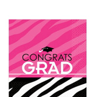 Fuchsia and Black Graduation Napkins