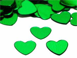 Heart Confetti, Green 1/4""