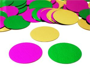 Green, purple and gold round confetti