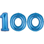 Blue Number 100 Balloon, 40
