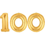 Gold Number 100 Balloon, 40