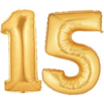 Gold Number 15 Balloons, 40