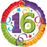 Mylar Balloon with a large number 16 in bright colors