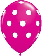 Polka Dot Balloons, Fuchsia and White