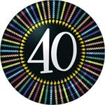40th Birthday Cake Plates, Black with Candle Border