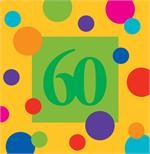 60th Birthday Napkins, Party Polka Dots