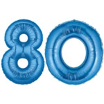 Blue Number 80 Balloon, 40