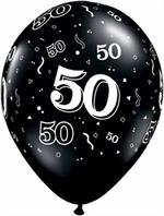50th Birthday Balloon, Black and White Biodegradeable, has 50 all around balloon