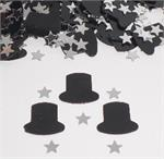 Black Top Hat and Silver Star Confetti