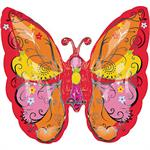 Large Butterfly Shaped Balloon Red, Orange, Yellow and Pink