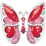 Butterfly Balloon Pink and Red will Float with Helium